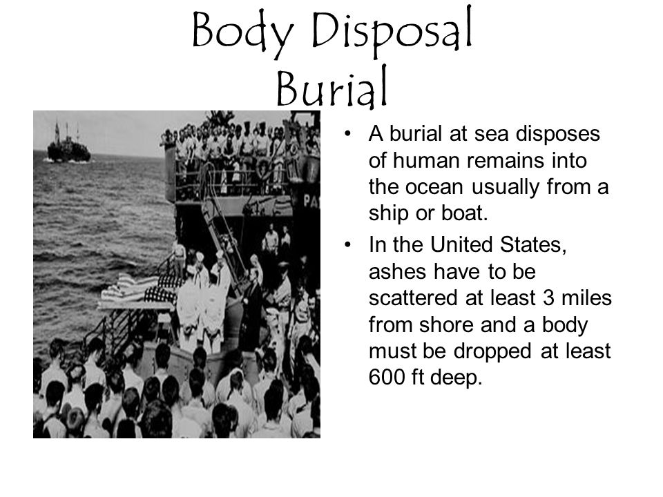 Body Disposal Burial A burial at sea disposes of human remains into the ocean usually from a ship or boat.
