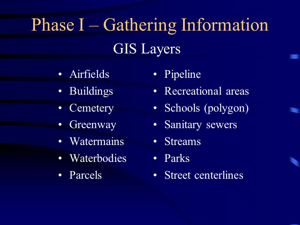 Phase I – Gathering Information Airfields Buildings Cemetery Greenway Watermains Waterbodies Parcels GIS Layers Pipeline Recreational areas Schools (p