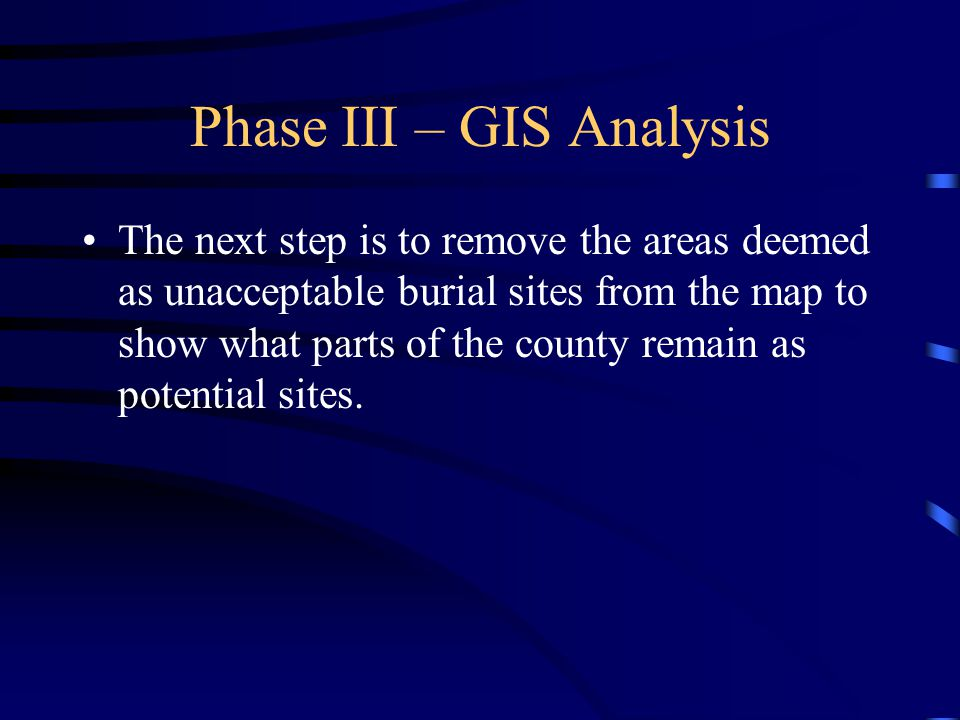 Phase III – GIS Analysis The next step is to remove the areas deemed as unacceptable burial sites from the map to show what parts of the county remain as potential sites.