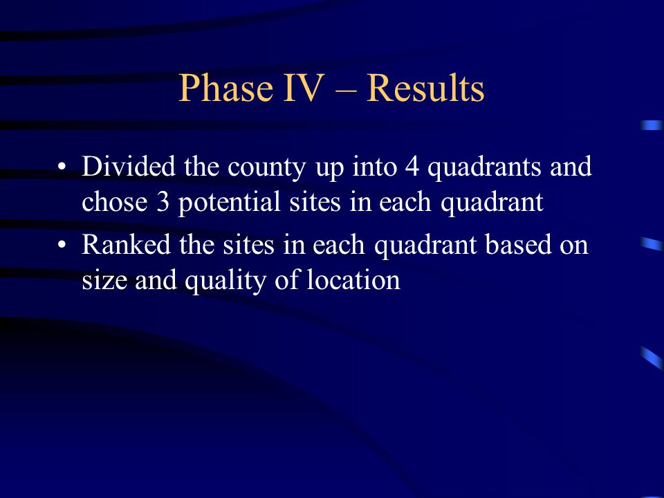 Phase IV – Results Divided the county up into 4 quadrants and chose 3 potential sites in each quadrant Ranked the sites in each quadrant based on size and quality of location