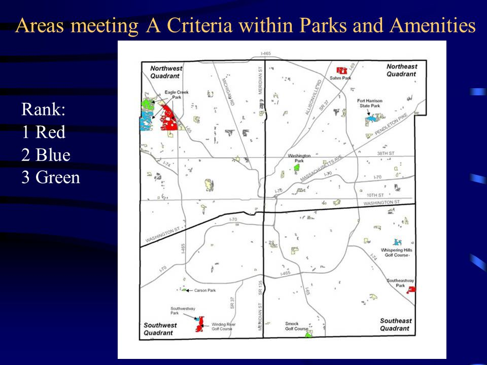 Areas meeting A Criteria within Parks and Amenities Rank: 1 Red 2 Blue 3 Green