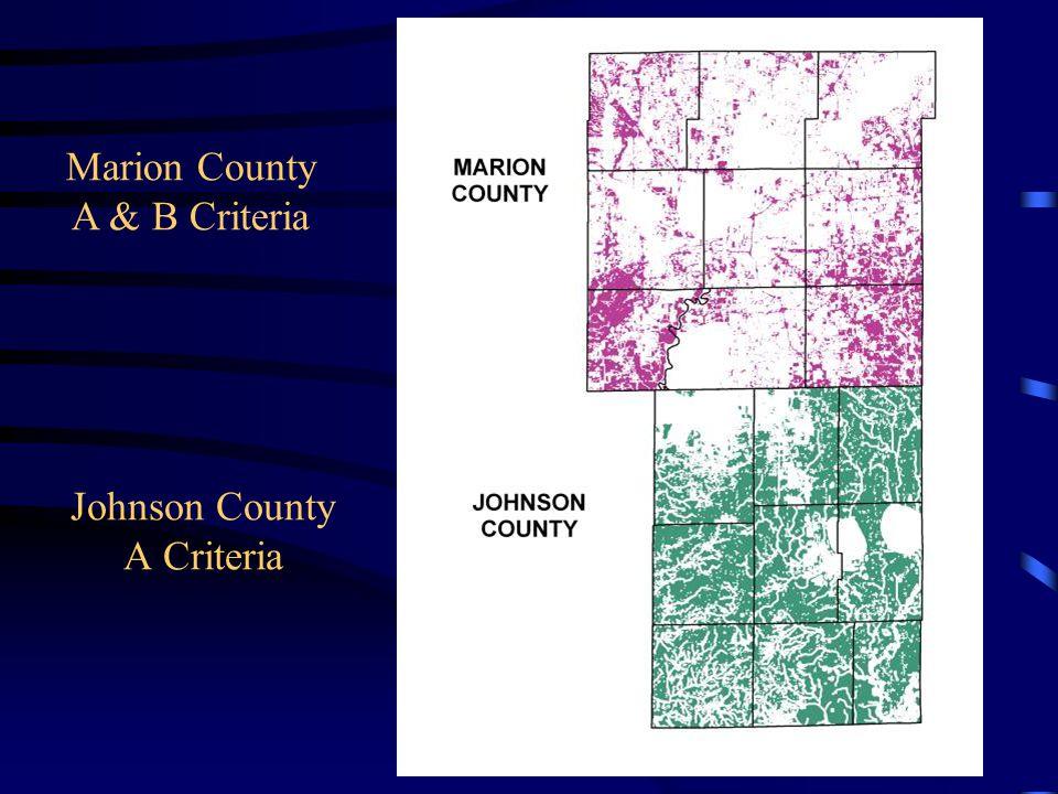Johnson County A Criteria Marion County A & B Criteria