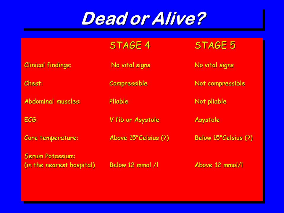 Dead or Alive? STAGE 4 STAGE 5 Clinical findings: No vital signs No vital signs Chest: Compressible Not compressible Abdominal muscles:PliableNot plia