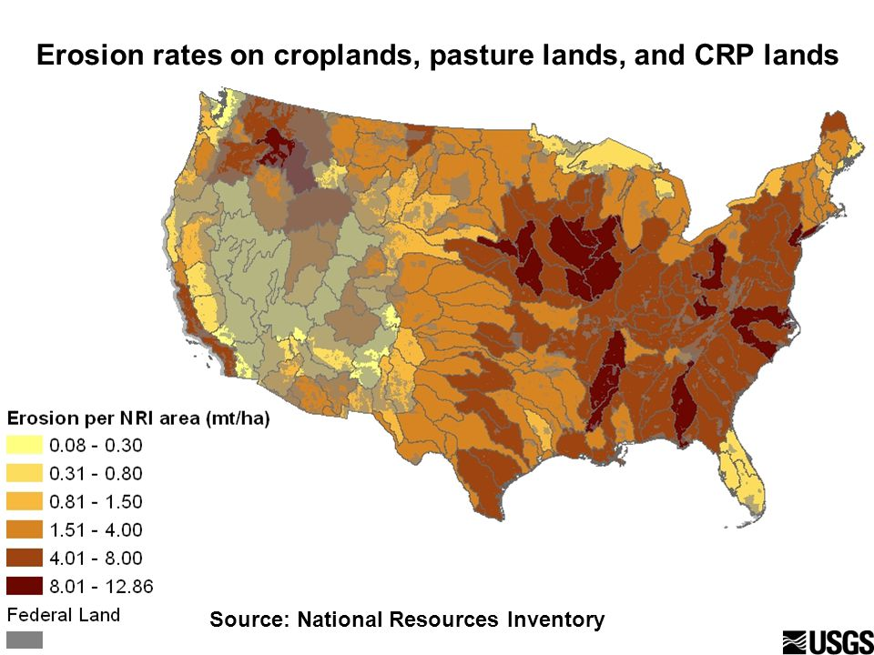 Erosion rates on croplands, pasture lands, and CRP lands Source: National Resources Inventory