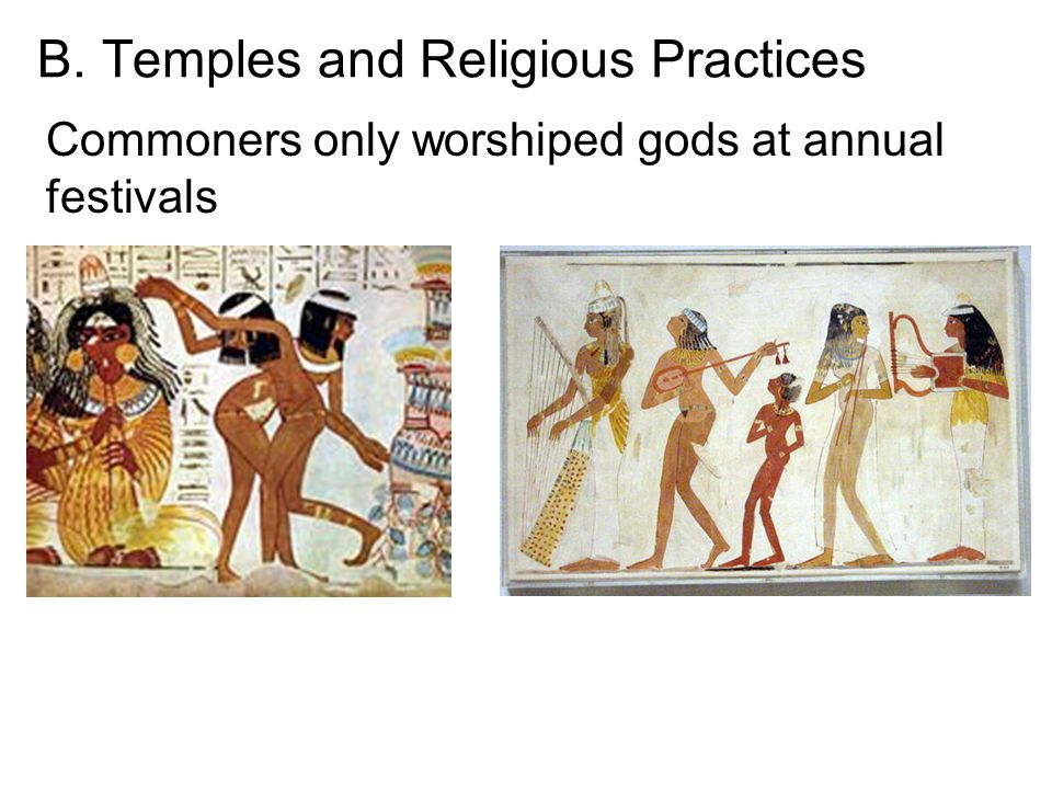 B. Temples and Religious Practices Commoners only worshiped gods at annual festivals