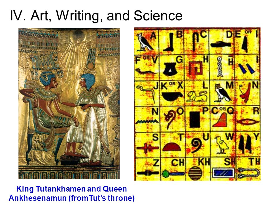 IV. Art, Writing, and Science King Tutankhamen and Queen Ankhesenamun (fromTut's throne)