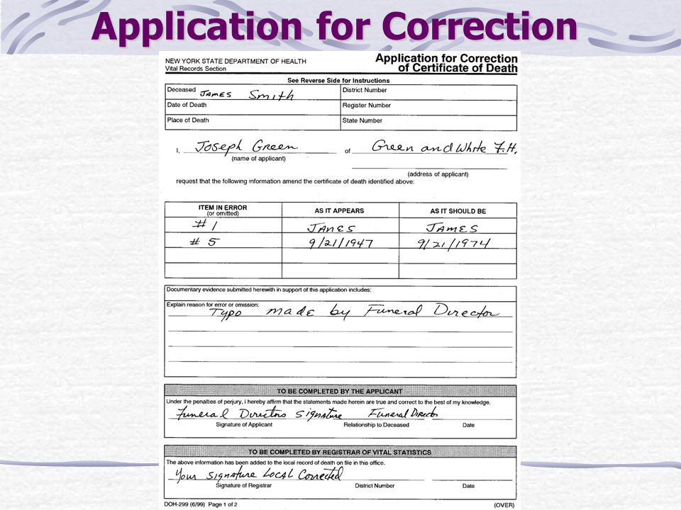 Application for Correction