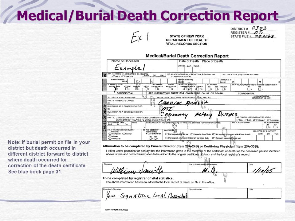 Medical/Burial Death Correction Report Note: If burial permit on file in your district but death occurred in different district forward to district wh