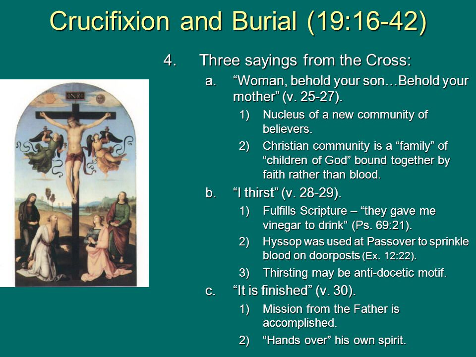 """4.Three sayings from the Cross: a.""""Woman, behold your son…Behold your mother"""" (v. 25-27). 1)Nucleus of a new community of believers. 2)Christian commu"""