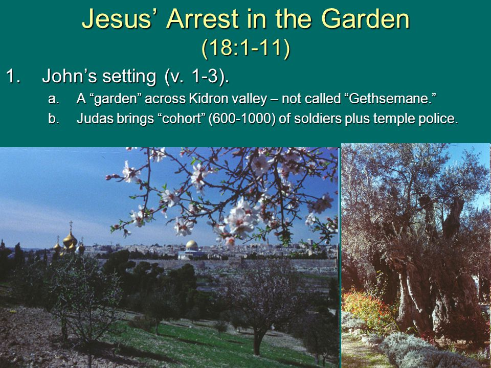 Jesus' Arrest in the Garden (18:1-11) 1.John's setting (v.