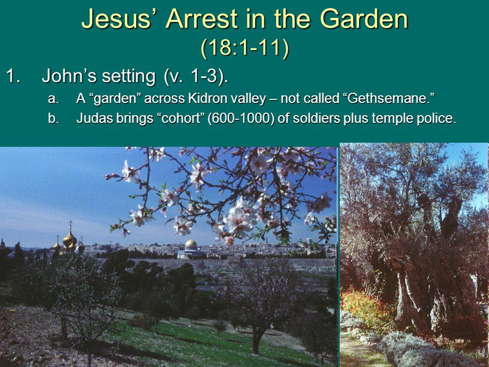 Jesus' Arrest in the Garden (18:1-11) 2.Jesus takes the initiative (v.