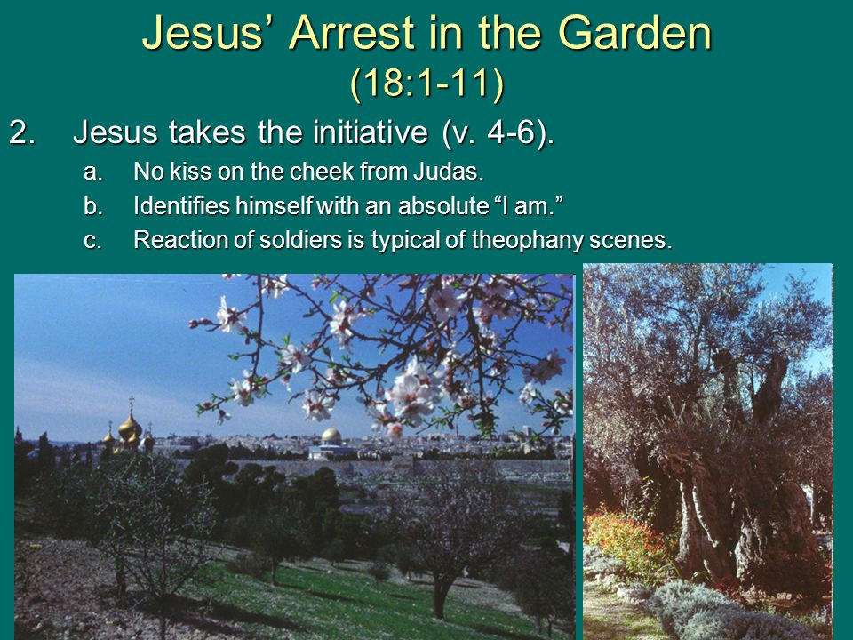 Jesus' Arrest in the Garden (18:1-11) 2.Jesus takes the initiative (v.