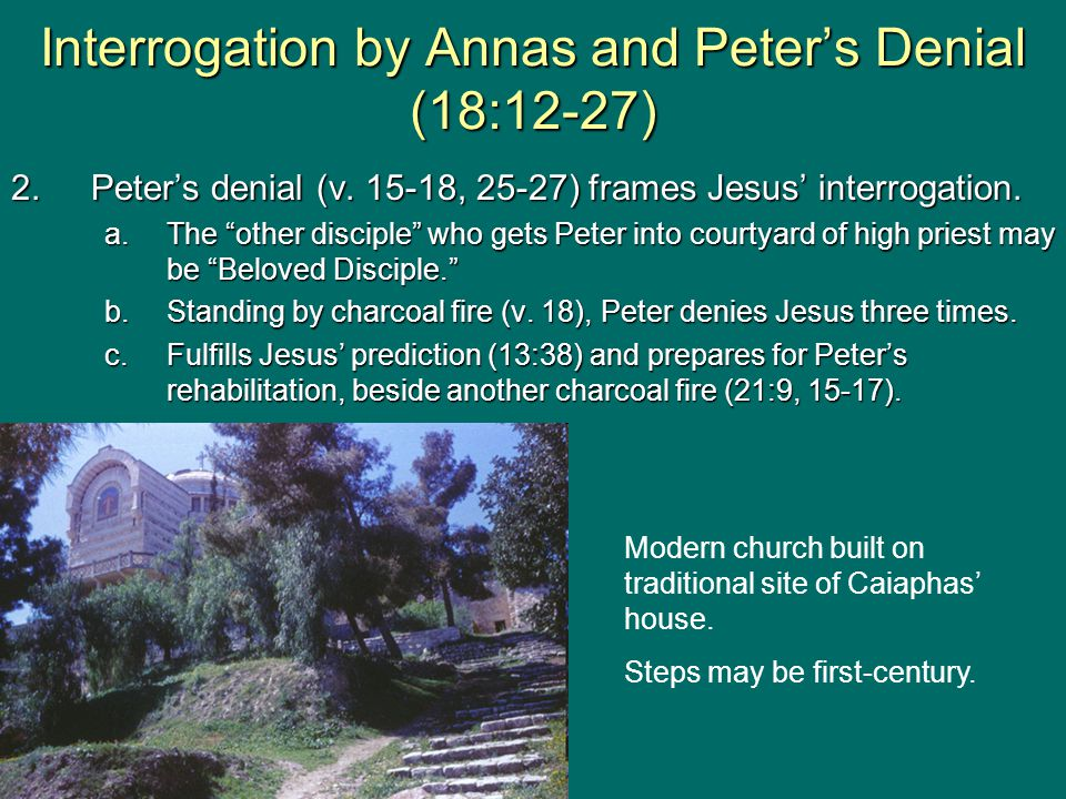 2.Peter's denial (v. 15-18, 25-27) frames Jesus' interrogation.
