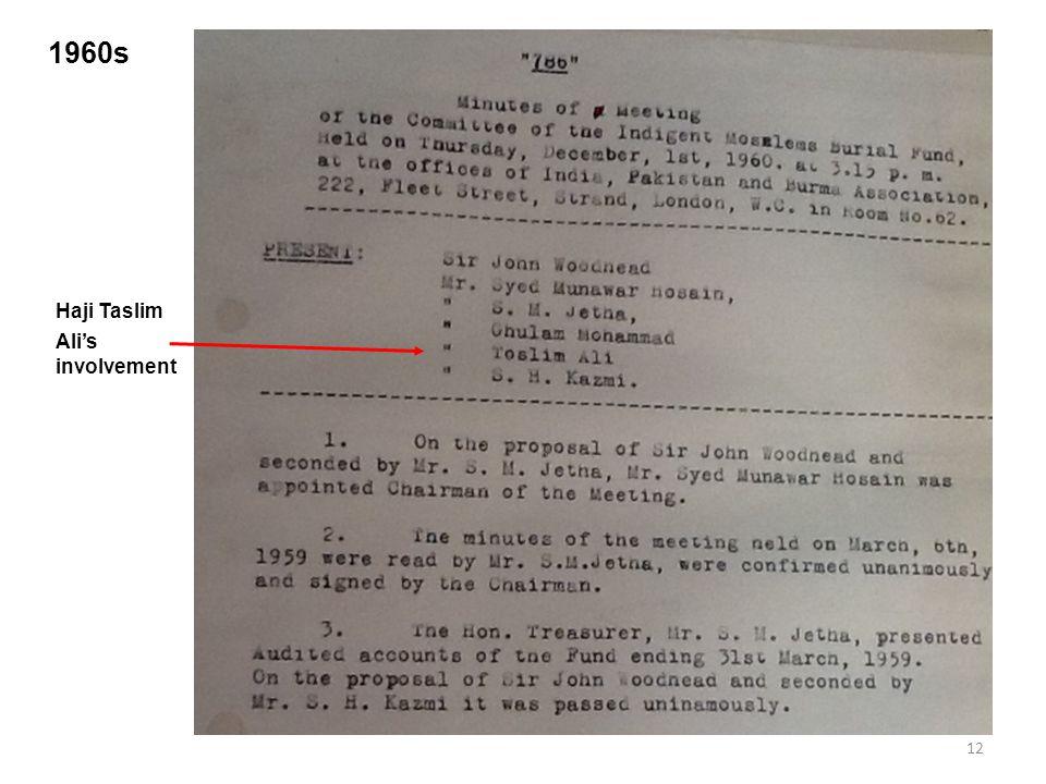 12 1960s Haji Taslim Ali's involvement