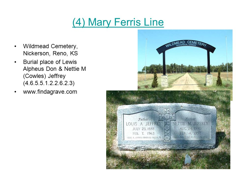 (4) Mary Ferris Line Wildmead Cemetery, Nickerson, Reno, KS Burial place of Lewis Alpheus Don & Nettie M (Cowles) Jeffrey (4.6.5.5.1.2.2.6.2.3) www.findagrave.com