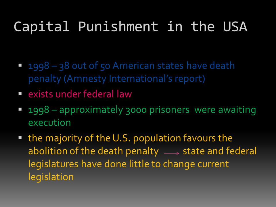 Capital Punishment in the USA  1998 – 38 out of 50 American states have death penalty (Amnesty International's report)  exists under federal law  1998 – approximately 3000 prisoners were awaiting execution  the majority of the U.S.