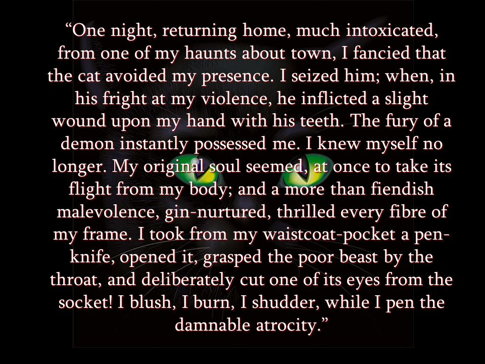 One night, returning home, much intoxicated, from one of my haunts about town, I fancied that the cat avoided my presence.