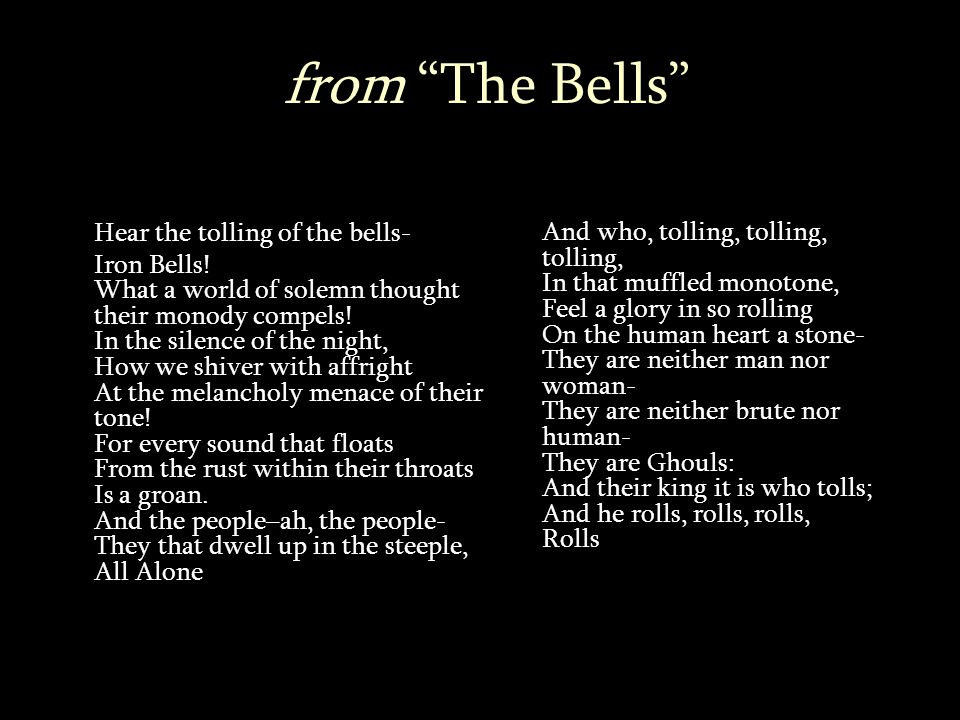 from The Bells Hear the tolling of the bells- Iron Bells.