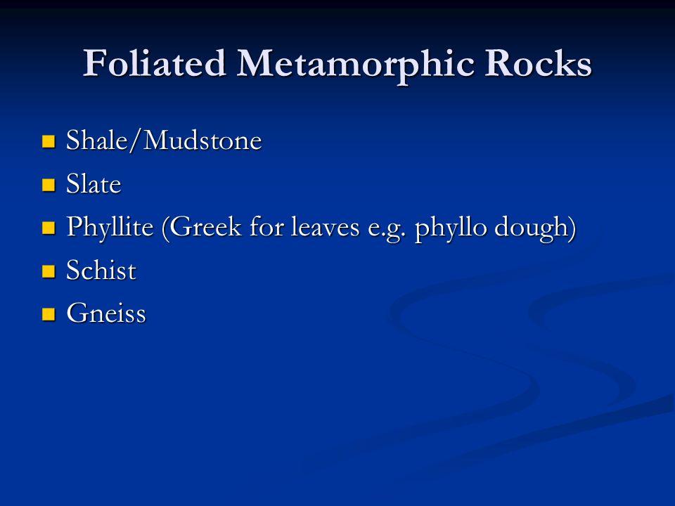 Foliated Metamorphic Rocks Shale/Mudstone Shale/Mudstone Slate Slate Phyllite (Greek for leaves e.g. phyllo dough) Phyllite (Greek for leaves e.g. phy