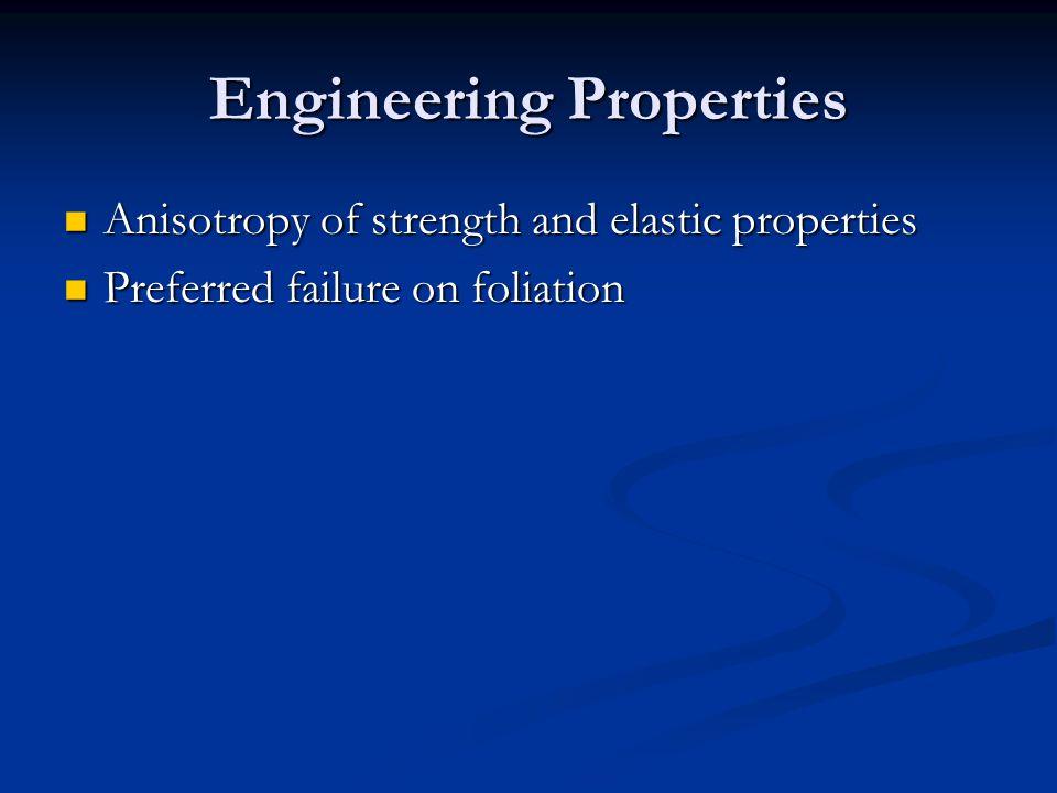 Engineering Properties Anisotropy of strength and elastic properties Anisotropy of strength and elastic properties Preferred failure on foliation Pref