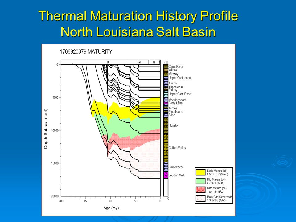 Thermal Maturation History Profile North Louisiana Salt Basin