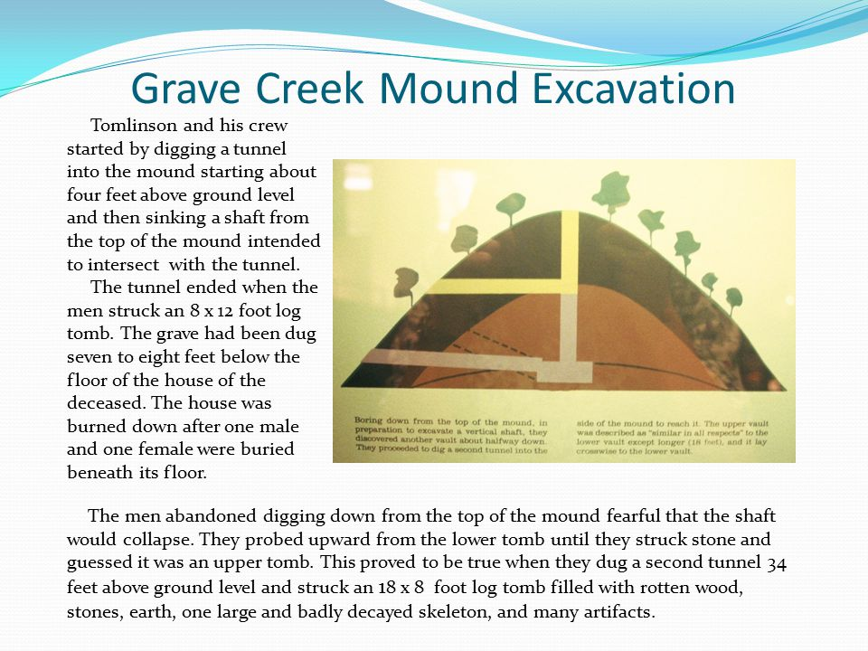 Grave Creek Mound Excavation Tomlinson and his crew started by digging a tunnel into the mound starting about four feet above ground level and then sinking a shaft from the top of the mound intended to intersect with the tunnel.