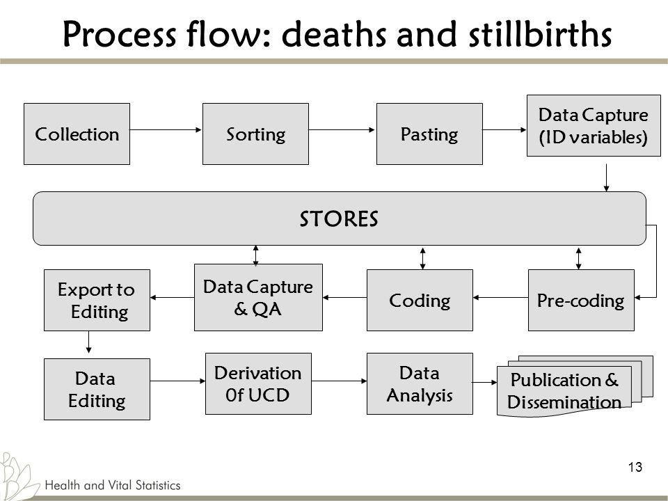 13 Process flow: deaths and stillbirths CollectionPasting Export to Editing Data Analysis STORES Sorting Data Editing Publication & Dissemination Pre-coding Data Capture & QA Coding Derivation 0f UCD Data Capture (ID variables)