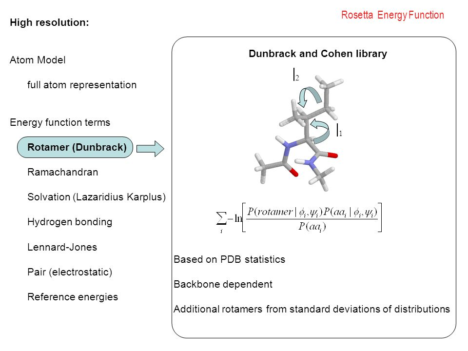 Rosetta Energy Function High resolution: Atom Model full atom representation Energy function terms Rotamer (Dunbrack) Ramachandran Solvation (Lazaridius Karplus) Hydrogen bonding Lennard-Jones Pair (electrostatic) Reference energies 11 22 Dunbrack and Cohen library Based on PDB statistics Backbone dependent Additional rotamers from standard deviations of distributions