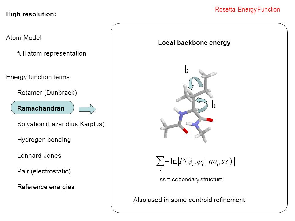 Rosetta Energy Function High resolution: Atom Model full atom representation Energy function terms Rotamer (Dunbrack) Ramachandran Solvation (Lazaridius Karplus) Hydrogen bonding Lennard-Jones Pair (electrostatic) Reference energies 11 22 ss = secondary structure Local backbone energy Also used in some centroid refinement