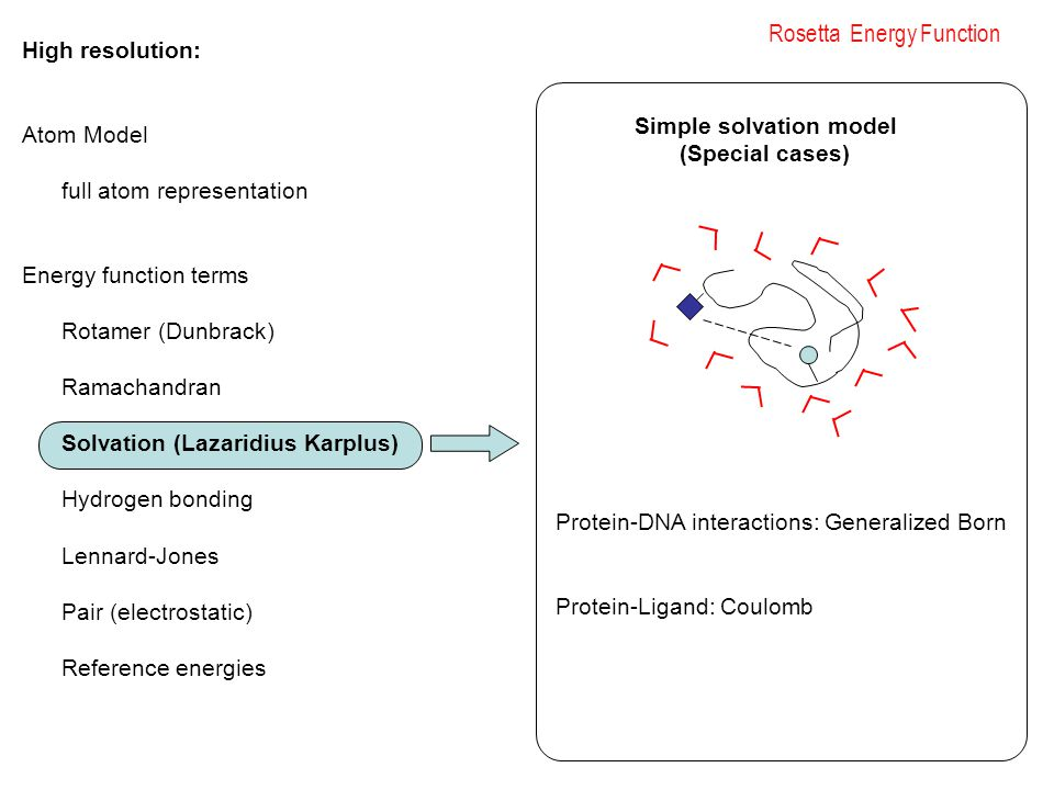 Rosetta Energy Function High resolution: Atom Model full atom representation Energy function terms Rotamer (Dunbrack) Ramachandran Solvation (Lazaridius Karplus) Hydrogen bonding Lennard-Jones Pair (electrostatic) Reference energies Protein-DNA interactions: Generalized Born Protein-Ligand: Coulomb Simple solvation model (Special cases)