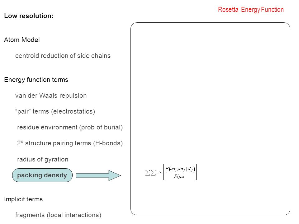 Rosetta Energy Function Low resolution: Atom Model centroid reduction of side chains Energy function terms van der Waals repulsion pair terms (electrostatics) residue environment (prob of burial) 2º structure pairing terms (H-bonds) radius of gyration packing density Implicit terms fragments (local interactions)
