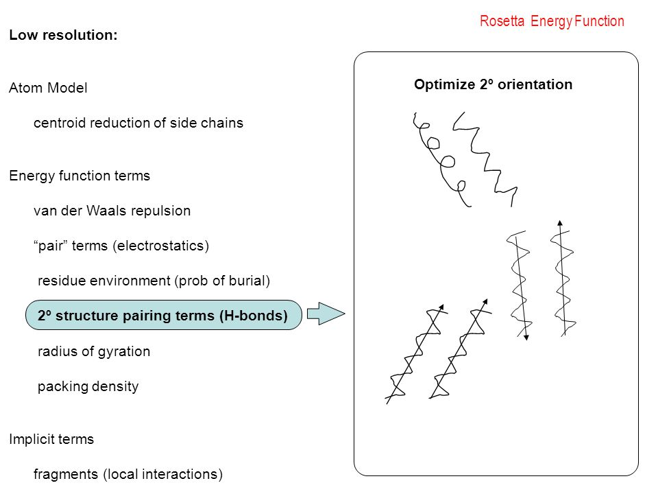"Rosetta Energy Function Low resolution: Atom Model centroid reduction of side chains Energy function terms van der Waals repulsion ""pair"" terms (elect"
