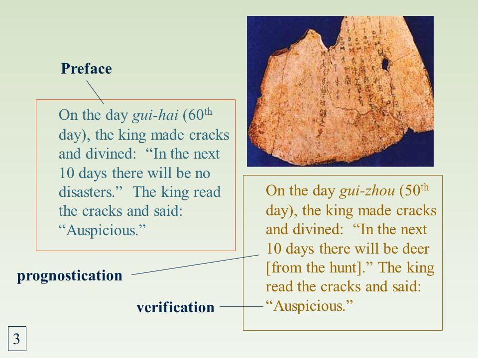 Oracle-bone Inscriptions 1. Preface/postface: time, diviner, place 2. Questions: prayers, predictions, or plans 3. The prognostication: interpretation