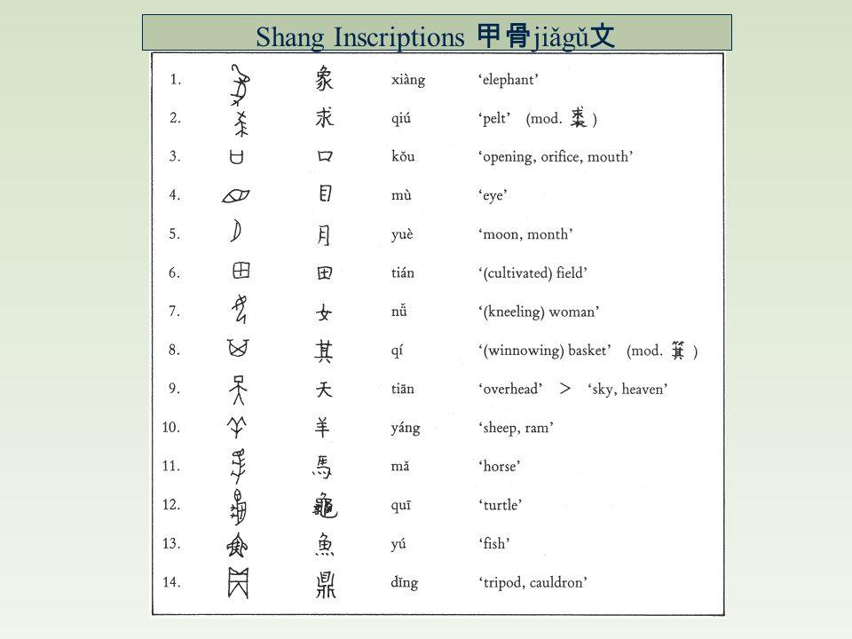 Shang Inscriptions 甲骨 jiǎgǔ 文