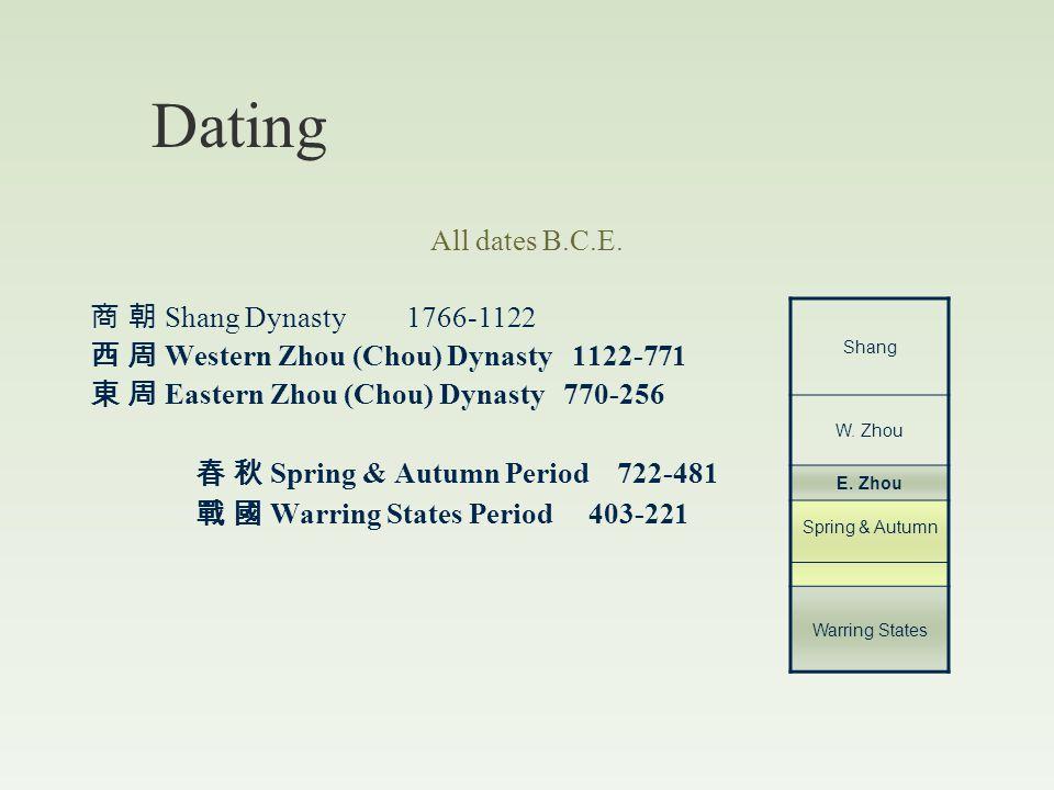 Zhou Dynasty (1122 BCE – 256 BCE) 1122-771 BCE (capitals: various) 770-256 BCE (capital: Luoyang)