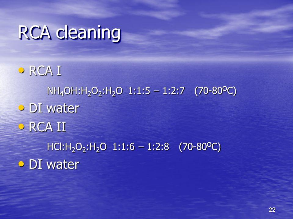RCA I RCA I NH 4 OH:H 2 O 2 :H 2 O 1:1:5 – 1:2:7 (70-80 O C) DI water DI water RCA II RCA II HCl:H 2 O 2 :H 2 O 1:1:6 – 1:2:8 (70-80 O C) DI water DI