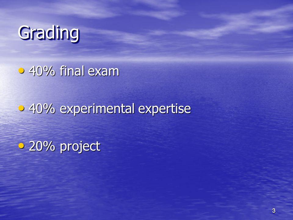 40% final exam 40% final exam 40% experimental expertise 40% experimental expertise 20% project 20% project GradingGrading 3