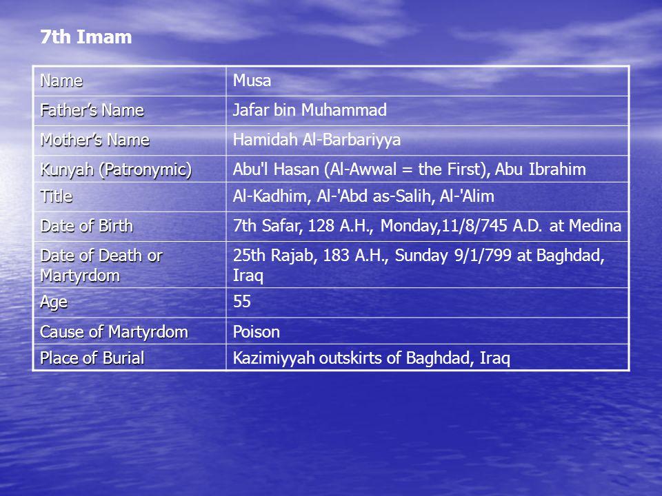 7th Imam NameMusa Father's Name Jafar bin Muhammad Mother's Name Hamidah Al-Barbariyya Kunyah (Patronymic) Abu l Hasan (Al-Awwal = the First), Abu Ibrahim TitleAl-Kadhim, Al- Abd as-Salih, Al- Alim Date of Birth 7th Safar, 128 A.H., Monday,11/8/745 A.D.