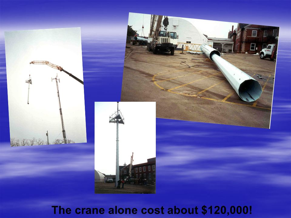 The crane alone cost about $120,000!