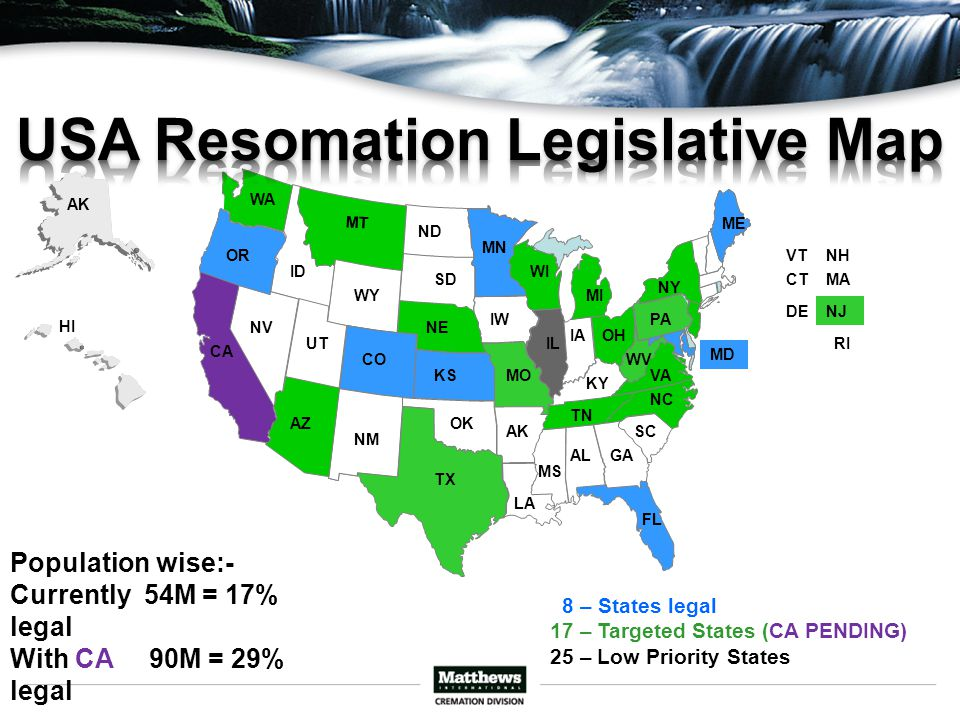 TX FL OR ME MD MOKS CO 8 – States legal 17 – Targeted States (CA PENDING) 25 – Low Priority States WA MT CA AZ WI MI NC TN VA NE IL PA NJ IW OK MN OH