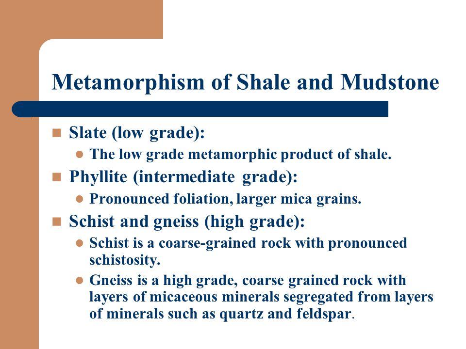 Metamorphism of Shale and Mudstone Slate (low grade): The low grade metamorphic product of shale.
