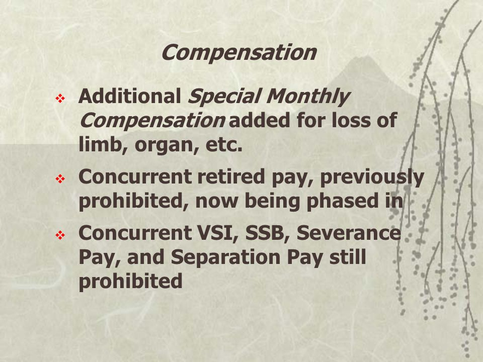 Compensation  Additional Special Monthly Compensation added for loss of limb, organ, etc.