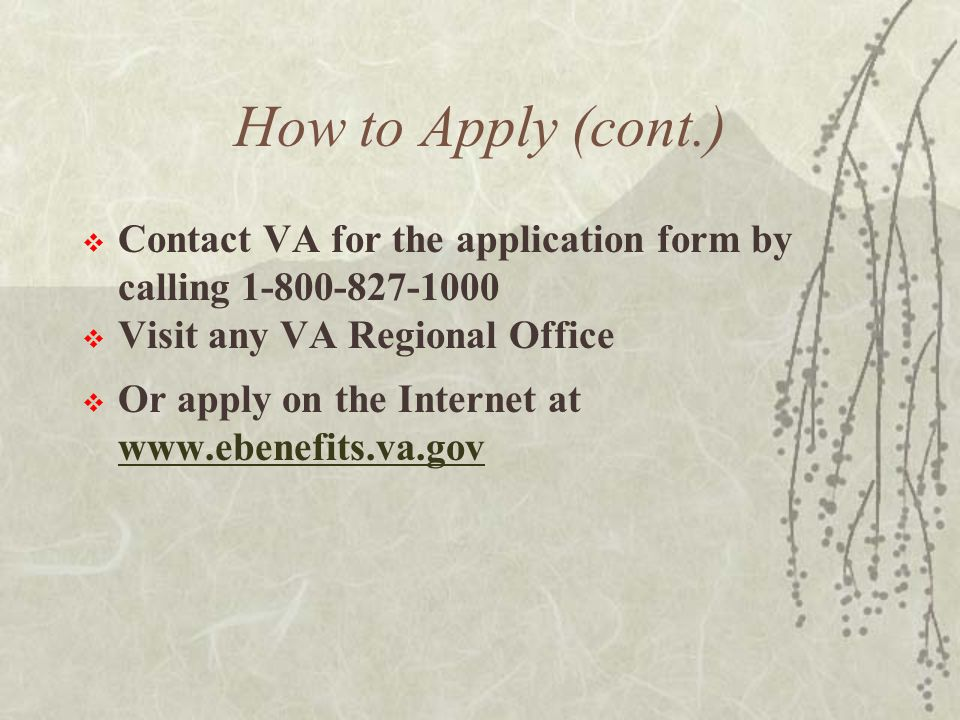 How to Apply (cont.)  Contact VA for the application form by calling 1-800-827-1000  Visit any VA Regional Office  Or apply on the Internet at www.ebenefits.va.gov www.ebenefits.va.gov