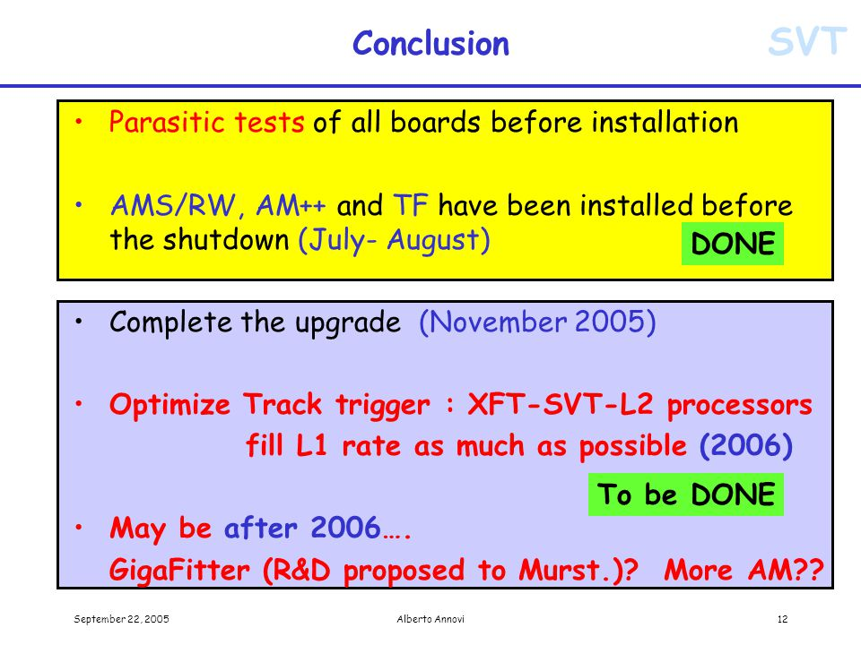 SVT September 22, 2005Alberto Annovi12 Conclusion Parasitic tests of all boards before installation AMS/RW, AM++ and TF have been installed before the shutdown (July- August) Complete the upgrade (November 2005) Optimize Track trigger : XFT-SVT-L2 processors fill L1 rate as much as possible (2006) May be after 2006….