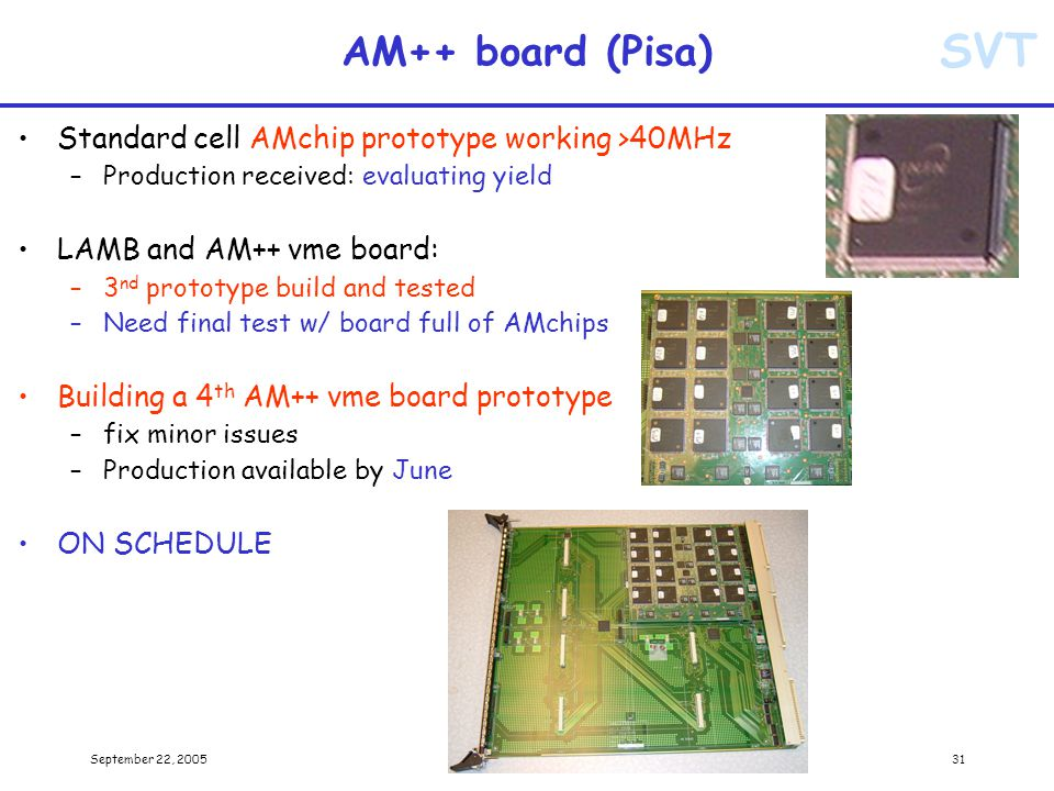 SVT September 22, 2005Alberto Annovi31 AM++ board (Pisa) Standard cell AMchip prototype working >40MHz –Production received: evaluating yield LAMB and AM++ vme board: –3 nd prototype build and tested –Need final test w/ board full of AMchips Building a 4 th AM++ vme board prototype –fix minor issues –Production available by June ON SCHEDULE