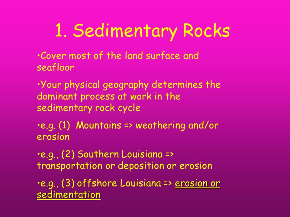 1. Sedimentary Rocks Cover most of the land surface and seafloor Your physical geography determines the dominant process at work in the sedimentary ro