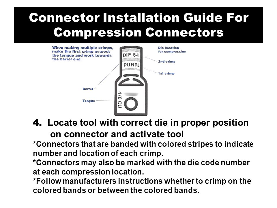 4. Locate tool with correct die in proper position on connector and activate tool *Connectors that are banded with colored stripes to indicate number