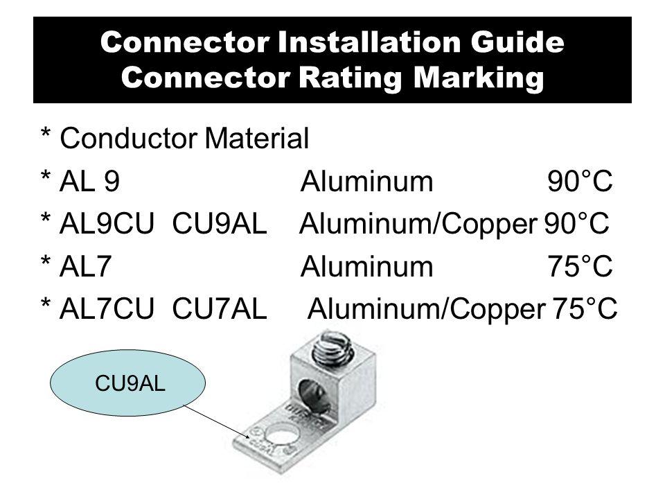 * Conductor Material * AL 9 Aluminum 90°C * AL9CU CU9AL Aluminum/Copper 90°C * AL7 Aluminum 75°C * AL7CU CU7AL Aluminum/Copper 75°C CU9AL Connector In