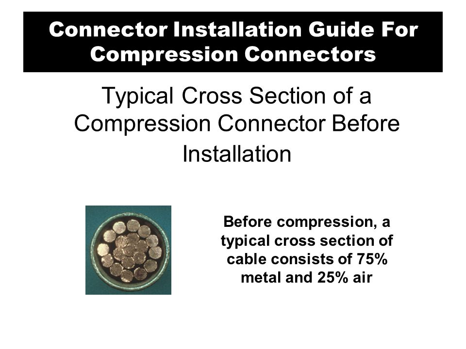 Typical Cross Section of a Compression Connector After Installation After compression, little air is left.