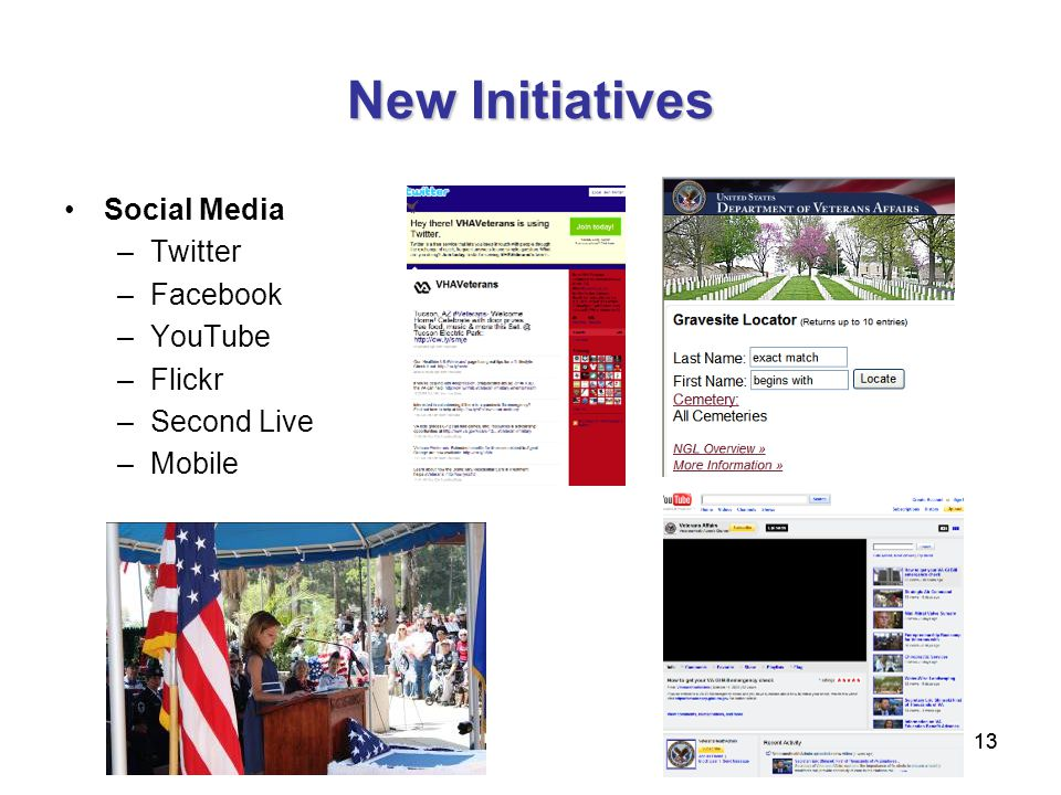 13 New Initiatives Social Media –Twitter –Facebook –YouTube –Flickr –Second Live –Mobile
